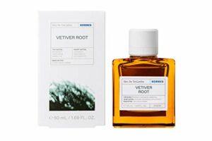 Korres Eau de Toilette Vétiver pour Homme 86% d'Origine Naturelle Parfum Boisé Intense 50 ml