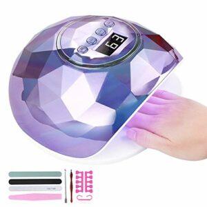 Lampe Sèche-Ongles 86W,Lampe UV LED Ongles Gel, avec 39 LED Lumières et Capteur Automatique /4 Minuteries, LCD Ecran, Base Amovible, pour manucure/pédicure nail art