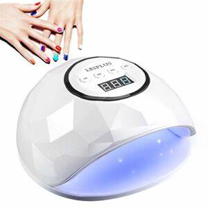 Lesplus Lampe UV Ongles Gel LED, 72W Sèche Séchoir Professionnel Automatique Puissant Pour Vernis Semi Permanent 4 Minuteries LCD Ecran Base Amovible
