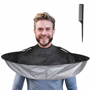 Lictin Coupe de Cheveux Coiffure Cape – Attache Auto-adhésive Coupe de Cheveux Cape, Barbe Rasage Tablier Parapluie Cape Étanche Accessoire de Coiffure (65cm DIA)