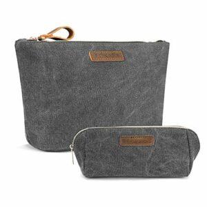 LOKASS Sac cosmétique pour sac à main, maquillage, voyage et articles de toilette pour femme Grand Gris foncé