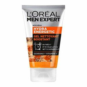 L'Oréal Men Expert – Gel Nettoyant Boostant pour Homme – Soin du Visage – Hydra Energetic – 100 ml – Lot de 2