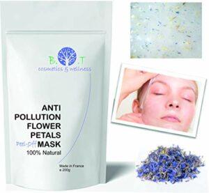 Masque Anti Pollution Alginate Translucide peel-off 200g Soin Anti Age Unisex Visage Cou Décolleté Mains (Petales des Fleurs)