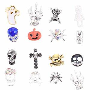 Minkissy Halloween Nail Art Charms 2 Boîtes Cristal Punk Halloween Crâne Ppider Citrouille Croix Clou Strass Métal 3D Nail Art Décoration pour Halloween Fête Soins