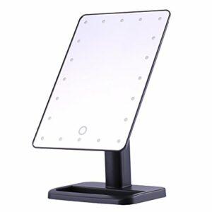 Miroir de maquillage LED – Miroir de maquillage éclairé par écran à 20 LED, miroirs de table cosmétiques éclairés de table (Couleur : Black)