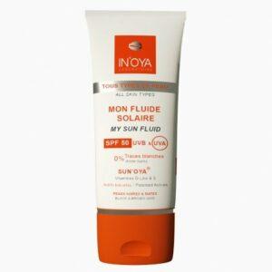 Mon fluide solaire SPF50 SUN'OYA – Peaux noires et mates – Crème solaire SPF50 – Protection solaire pour le visage, sans traces blanches – 50ML