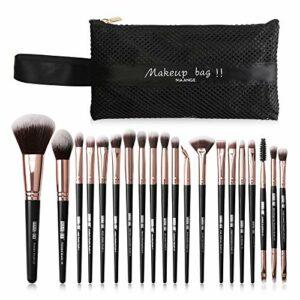 mreechan Pinceaux Maquillage,20 pièces Maquillage Set de Brosse Maquillage Kit,pinceaux de maquillage synthétiques de qualité supérieure pour fond de teint,pinceaux maquillages professionnel