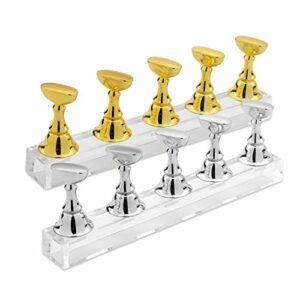 MWOOT Support Magnétique pour Faux Ongles,Acrylique D'échecs Nail Art Présentoir Entraînement Pratique,Nail Art Tips Stand holder pour Manucure Salon,(Or + argent)