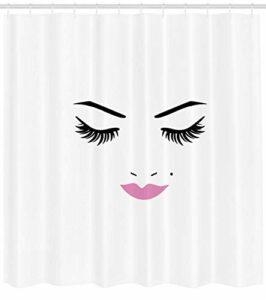 /N Rideau De Douche Cils Yeux Fermés Rose Rouge À Lèvres Glamour Maquillage Cosmétiques Beauté Design Féminin Tissu Salle De Bains Décor avec Crochets Extra Long Fuchsia Noir