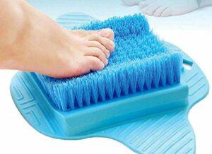 NFJ Brosse Lave Pied/Feet Cleaner/Foot Scrubber/Brosse à RéCurer Les Pieds Masseur pour Pieds Masseur Brosse De Douche avec Ventouses AntidéRapantes Et Tapis De Massage Doux,Blue