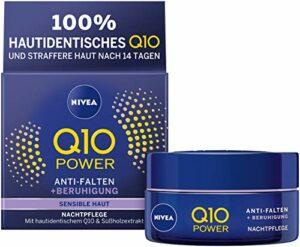 NIVEA Q10 Power Lot de 2 crèmes de nuit hydratantes anti-rides + Sensibilité réduite pour une peau plus jeune, 2 x 50 ml