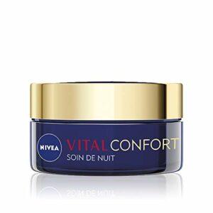 NIVEA Vital Soin de Nuit Confort & Nutrition (1 x 50 ml), crème anti-âge enrichie en Huile de Pépins de Raisin, soin visage femme pour peau mature & sèche