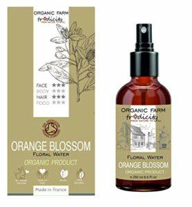 Organic Farm Hydrolat Eau Florale Organique Aromatisante de Fleur d'Oranger Néroli 250 ml Flacon en Verre Spray, Soin et Cuisine