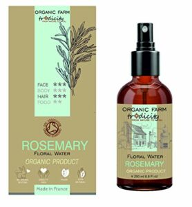 Organic Farm Hydrolat Eau Florale Organique de Romarin 250 ml Flacon en Verre Spray, Soin et Cuisine