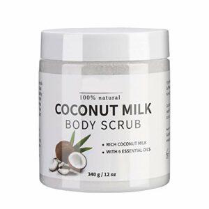 Peeling corporel, lait de coco, gommage douche crème pour une peau lisse et soyeuse, peeling avec effet ultra hydratant et bio, vergetures, lissage de la peau