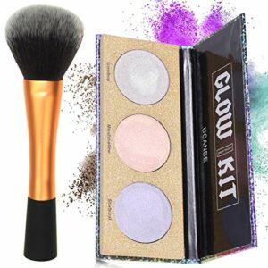 Pinceau de maquillage Kabuki pour poudre bronzante Blushers avec 3 couleurs surlignées en poudre pressée