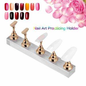 Présentoir de faux ongles – Support magnétique doré – Support de pratique pour nail art