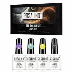 ROSALIND Base et Top Coat Vernis Semi Permanent Matte Top Coat 10ml à Primer Ongles Gel UV Nail Art Design Soak Off Vernis à Ongles Manucure Salon