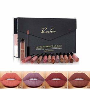 Rouge à Lèvres Liquide Mat, Longue Durée Waterproof Hydratant Brillant Maquillage à Lèvres Lot de (12 PCS GIFT SET)