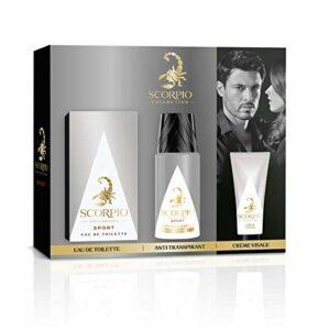 SCORPIO Collection Coffret 3 produits Sport – Eau de toilette flacon 75ml, Déodorant atomiseur 150ml et Gel crème pour visage 50ml