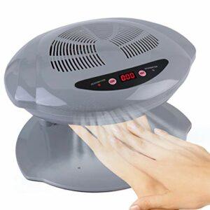 Sèche-ongles, Capteur de air chaud et froid outil de manucure pour ventilateur de séchage vernis à ongles pour Salon et Maison(EU-Silver)