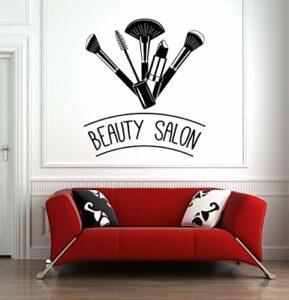 Sticker mural pour salon de beauté – Brosse à maquillage – Outils – Rouge à lèvres – Salon de beauté – Décoration murale – Cils