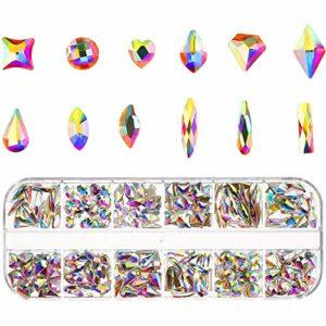 Strass pour Nail Art 240 Pièces 12 Formes Diamant Décoration Ongles Brillant Coloré Cristal En Boîte pour Maquillage beauté Ongles Artisanat Décorations Performances