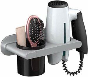 U-A Support de sèche-Cheveux de Salle de Bain, Cadre de sèche-Cheveux Mural sans poinçon, étanche et résistant à l'humidité, pour sèche-Cheveux avec Une buse inférieure à 8 cm