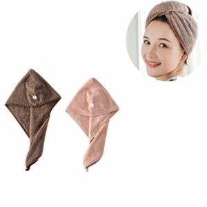 2 Pcs Cheveux Serviette Microfibre Twist Cheveux Turban Wrap Super Absorbant du Séchage Rapide Serviettes de Bain (Rose + Café)