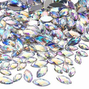 2000 Pièces Brillant AB Pierres de Strass de Dos Plat avec Pincette Strass Oeil de Cheval Pierres à Ongles Strass Ongles Décorations pour Nail Supplies Artisanat