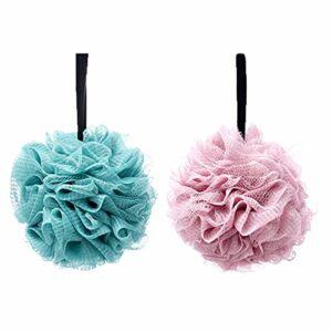 2pcs Bain Douche Éponge éponges de bain exfoliantes,Fleurs de Bain Éponge de Douche aux hommes et aux femmes pour exfolier