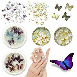3D Strass Ongle Nail Art, Papillon en Résine à Ongles 3D Avec des Fleurs de Perles Bijoux pour Ongles pour la Conception de Bricolage D'art D'ongle (4 boîtes)