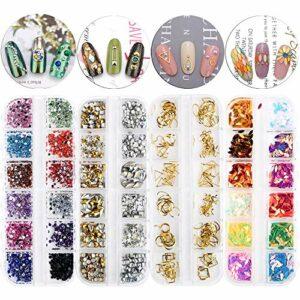 4 Boîtes Kit de Nails Ongles Strass Faux de Mélange Ornements Diamants d'Ongles Paillettes Décoration Bricolage Accessoires Clou Manucure pour Ongles Portable Vêtements Femmes Filles