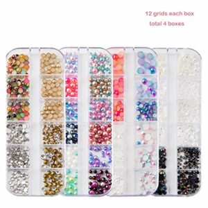 4 Boîtes Nail Bijoux Perles Nail Strass Dos Plat AB Diamants Perles Rondes Mélanger Verre Charmes Gemmes Pierres Pour 3D Ongles Art Décorations