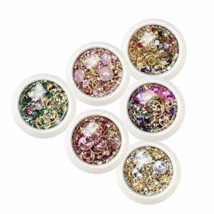 6 Boîte Ongles Cristal Strass Métal Rivet Pierres Précieuses 3D Bricolage Conseils Charme Nail Art Design Décorations Manucure Diamants-6 Pièces
