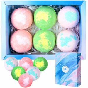 6 Pièces Set de Bombes de Bain Bombes de Douche à Huiles Essentielles Pures Aromathérapie Vapeur Bombes de Bain à Vapeur pour Douche Spa à Vapeur de Maison (Boite Bleue)