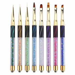8 PCS pinceaux ongles gel UV acrylique nail art Brosses Ensemble outils de pointillage pour nail art Brosse Nail Art Dust Brush