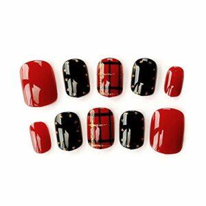 Accessoires pour ongles 24pcs / boîte frais rouge et noir rayures fausses clou avec designs courts couvre-clés en acrylique