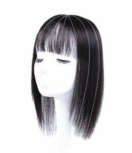 Air Bangs pour Femmes avec calvitie féminine 8 X 12 cm Clip de Base en Soie dans Les Cheveux Humains Couronne Topper Accessoires de Maquillage