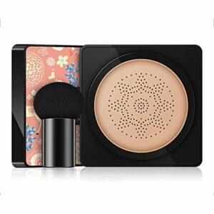 Air Cushion Foundation, crème BB à coussin d'air à tête de champignon avec éponge à tête de champignon pour un maquillage impeccable, un teint uniforme, un pigment éclaircissant hydratant et durable