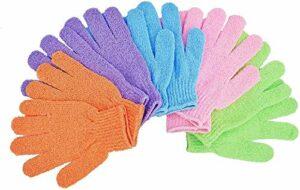 AOLANS Lot de 5 paires de gants exfoliants pour le bain ou la douche, utilisés pour le savon et le lavage du corps, rend la peau douce et propre