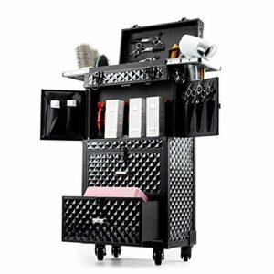 AOO Grand boîtier de Maquillage Professionnel, étui de Voyage de Maquillage de 2 en 1 avec tiroirs coulissants, Support de sèche-Cheveux de Brosse