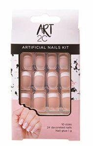 Art 2C – 001 Kit d'ongles artificiels faciles à enlever pour French manucure, avec forme ajustée et colle incluse