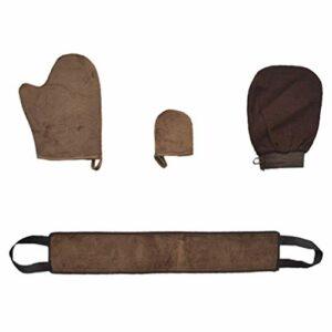 Artibetter Kit D'applicateur de Gant Autobronzant Gant Dos Applicateur Bronzant Gant Exfoliant Gant de Bronzage sans Soleil Lotion Gommage Exfoliant Microfibre Marron 1 Set / 4Pcs