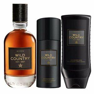 AVON Wild Country lot de 3 produits Eau de toilette Wild Country 75 ml Déo spray pour le corps Wild Country 150 ml Gel douche, shampoo Wild Country 250 ml