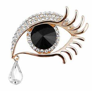 BAOBAO QUELLIA Fashion Angel Tears Broche Diamant Cils Corsage (Les Yeux Bleus d'or de Diamant Blanc) (Color : Golden White Diamonds and Black Eyes)
