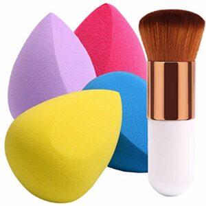 BEAKEY 4+1 Pcs Éponge de maquillage, Oeuf de Beauté Pinceau de maquillage, pour le fond de teint, la crème, la lotionet la poudre