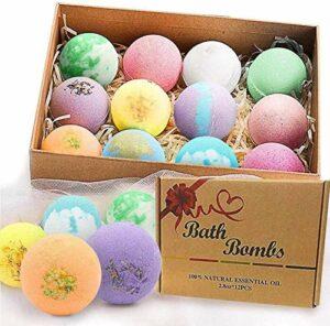Bombes De Bain, 12 Paquets Ensemble De Cadeau De Bombe De Bain, Huiles Essentielles Naturelles Organiques, DéTendre Et Hydrater La Peau, Parfait pour Le Bain De Bulle Et De Spa。