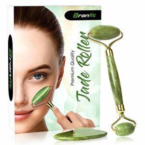 BRANFIT Meilleur ensemble de rouleau en jade et d'outil pour raclage Gua Sha – Solution de soin ultime anti-âge et anti-rides pour la peau- Rouleau en jade 100 % naturel