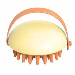 Brosse de shampooing de masseur de cuir chevelu en silicone souple, élimine les pellicules, favorise la croissance des cheveux, nettoyage en profondeur (Color : Yellow)
